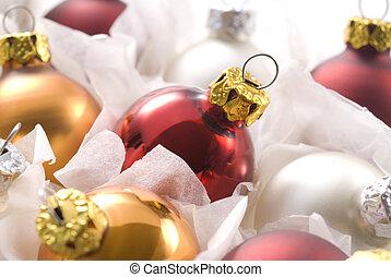 navidad, pelotas, en caja