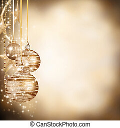 navidad, pelotas, plano de fondo, con, libre, espacio, para,...