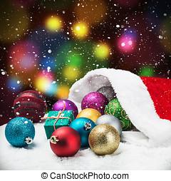 navidad, pelotas, y, regalos