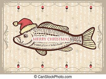 navidad, pez, en, santa, rojo, hat.vintage, dibujo, tarjeta,...