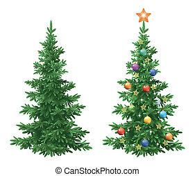 navidad, picea, árboles de abeto, con, ornamentos