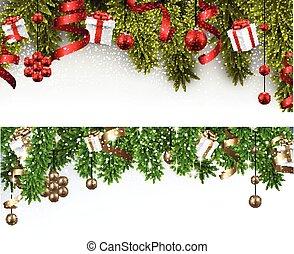 navidad, picea, banderas, branches.