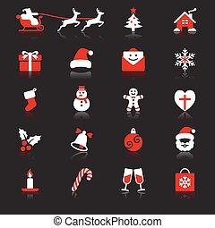 navidad, plano, con, reflexión, iconos