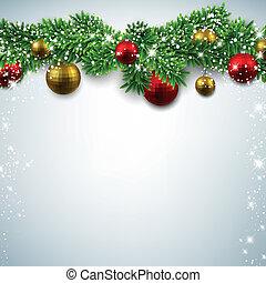 navidad, plano de fondo, con, abeto, branches.