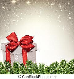 navidad, plano de fondo, con, abeto, ramas, regalo, box.