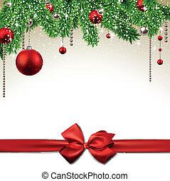 navidad, plano de fondo, con, abeto, ramas, y, balls.