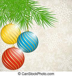 navidad, plano de fondo, con, balls.