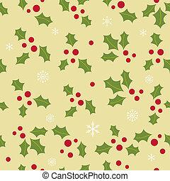 navidad, plano de fondo, con, baya acebo, hojas, en, verde...