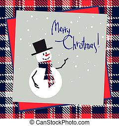navidad, plano de fondo, con, feliz, snowman