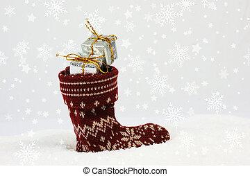 navidad, plano de fondo, con, festivo, media, lleno, de, regalos, anidado, en, nieve