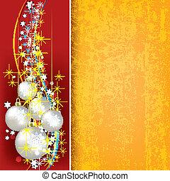 navidad, plano de fondo, con, perla, pelotas