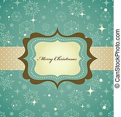 navidad, plano de fondo, con, retro, patrón, y, marco