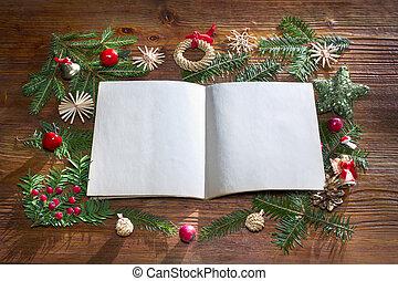 navidad, plano de fondo, con, vacío, papel