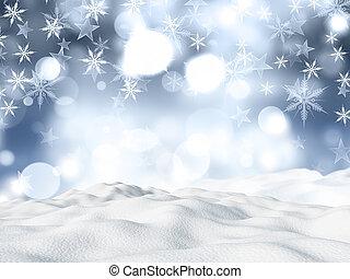 navidad, plano de fondo, con, ventisquero, en, copo de nieve, y, estrellas, diseño