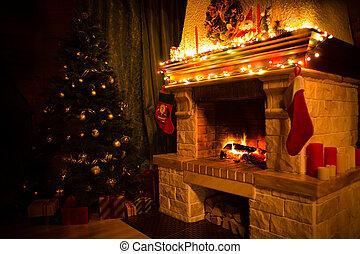 navidad, presentes, árbol,  interior, Chimenea, navidad