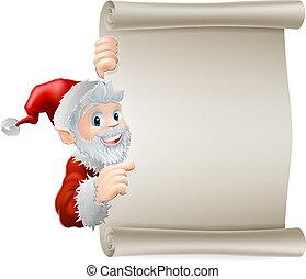 navidad, rúbrica, santa, caricatura
