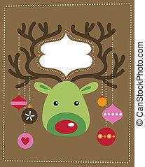 navidad, reno, tarjeta