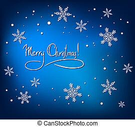 navidad, resumen, tarjeta, con, blanco, copos de nieve, en, azul, fondo., simple, vector, diseño