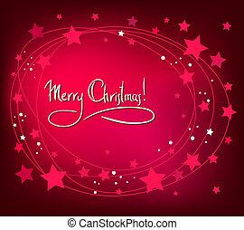 navidad, resumen, tarjeta, con, blanco, estrellas, en, rojo, fondo., simple, vector, diseño