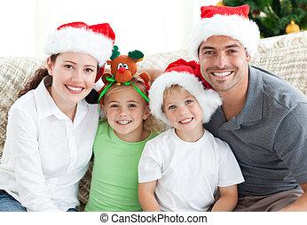 navidad, retrato de la familia
