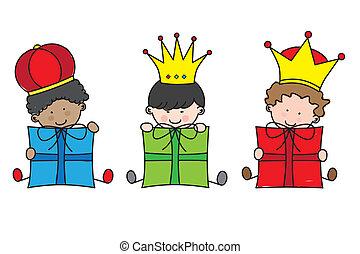 navidad., reyes, tres