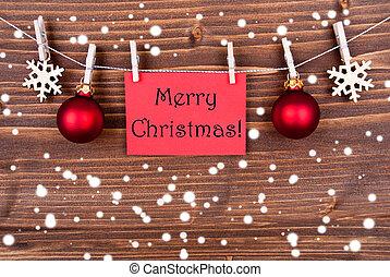 navidad, rojo, nieve, alegre, etiqueta