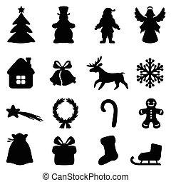 navidad, símbolo, conjunto