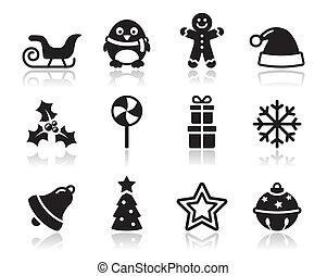 navidad, s, negro, sombra, iconos