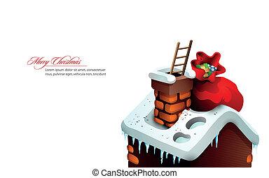 navidad, saludo, con, lindo, casa, y, santa claus,...