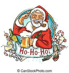 navidad, santa, etiqueta