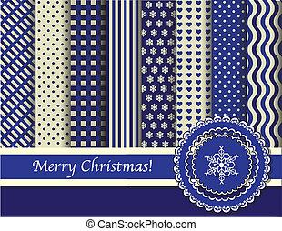 navidad, scrapbooking, azul, y, crema