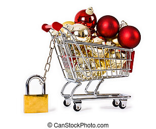 navidad, seguro, aislado, compras