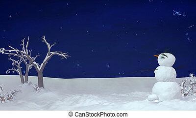 navidad, snowman, por la noche