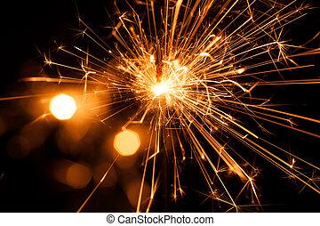 navidad, sparkler, en, negro, fondo., bengala, fuego
