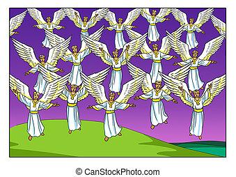 navidad, story., el, coro, de, canto, angels.