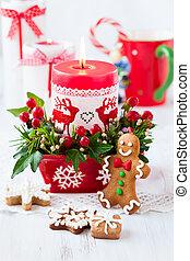 navidad, tabla, vela, adornado