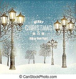 navidad, tarde, paisaje, con, vendimia, lampposts., vector.