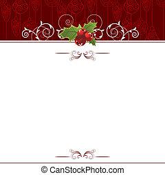 navidad, tarjeta de felicitación, con, baya acebo,...