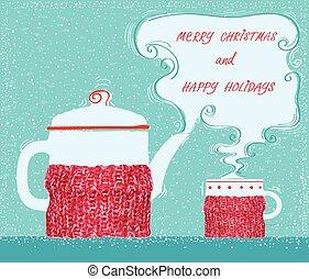navidad, tarjeta de felicitación, con, taza, té, y, caldera, plano de fondo
