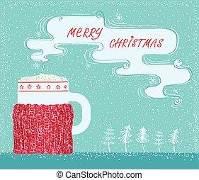 navidad, tarjeta de felicitación, con, tejido, taza, tenedor, y, café