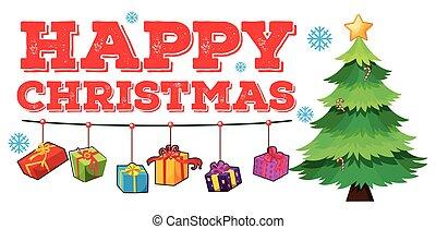 navidad, tema, con, árbol, y, ornamentos