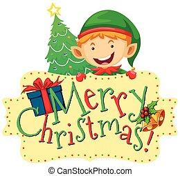 navidad, tema, con, duende, y, árbol de navidad