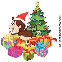 navidad, tema, con, mono, y, árbol