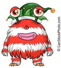 navidad, tema, con, monstruo, en, duende, sombrero