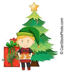 navidad, tema, con, panadero, y, árbol