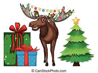 navidad, tema, con, reno, y, árbol