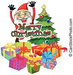 navidad, tema, con, santa, y, árbol de navidad