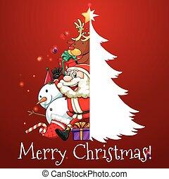 navidad, tema, con, santa, y, árbol