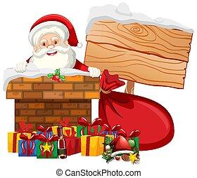 navidad, tema, santa, presentes