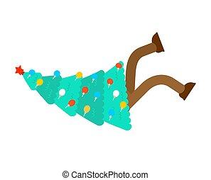 navidad, vector, árbol, cayó, navidad, slipped., ilustración